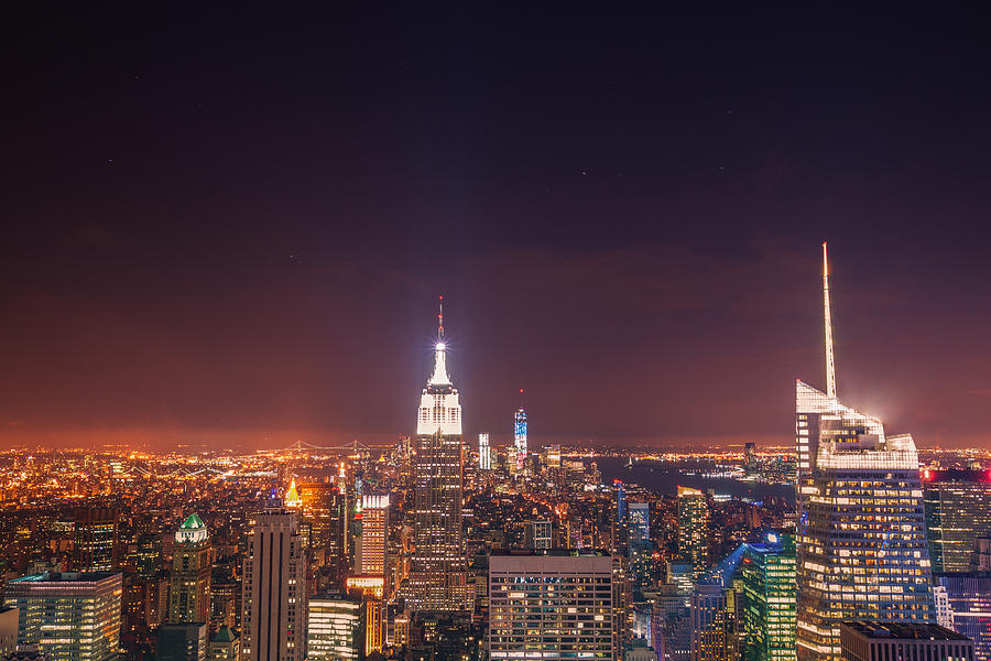 Nyc Photograph - New York City Lights At Night by Vivienne Gucwa