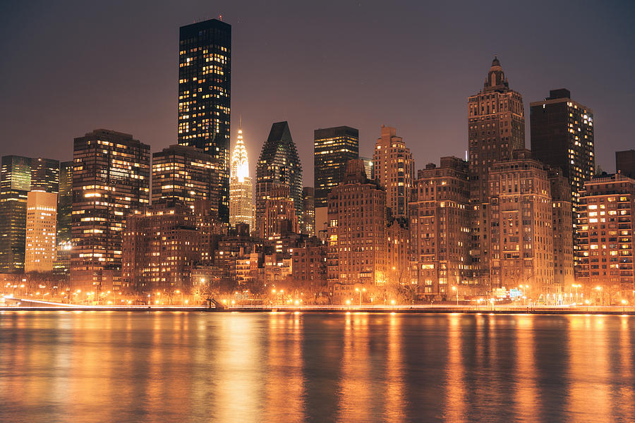 New York City Lights - Skyline At Night Photograph