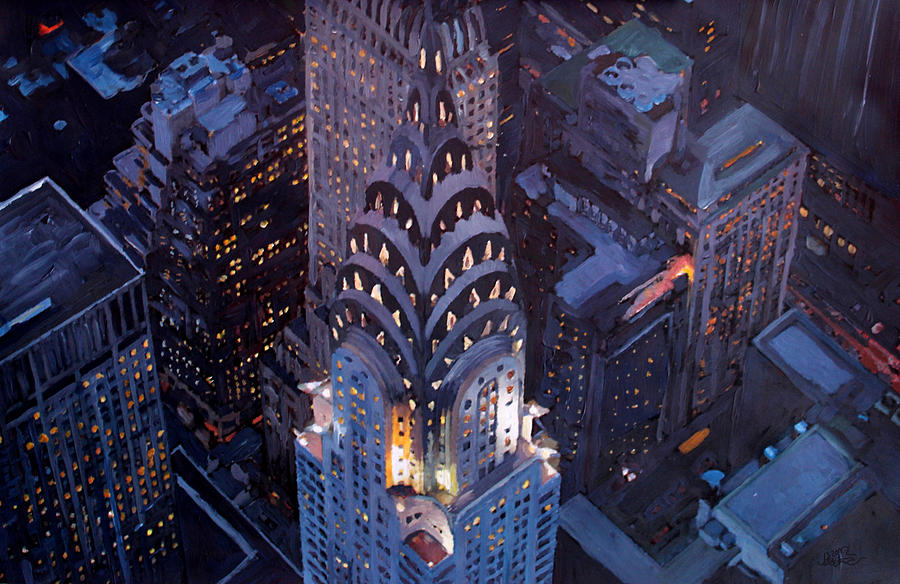 New York City Midtown Manhattan With Chrysler Building At Night  Version 2 Painting