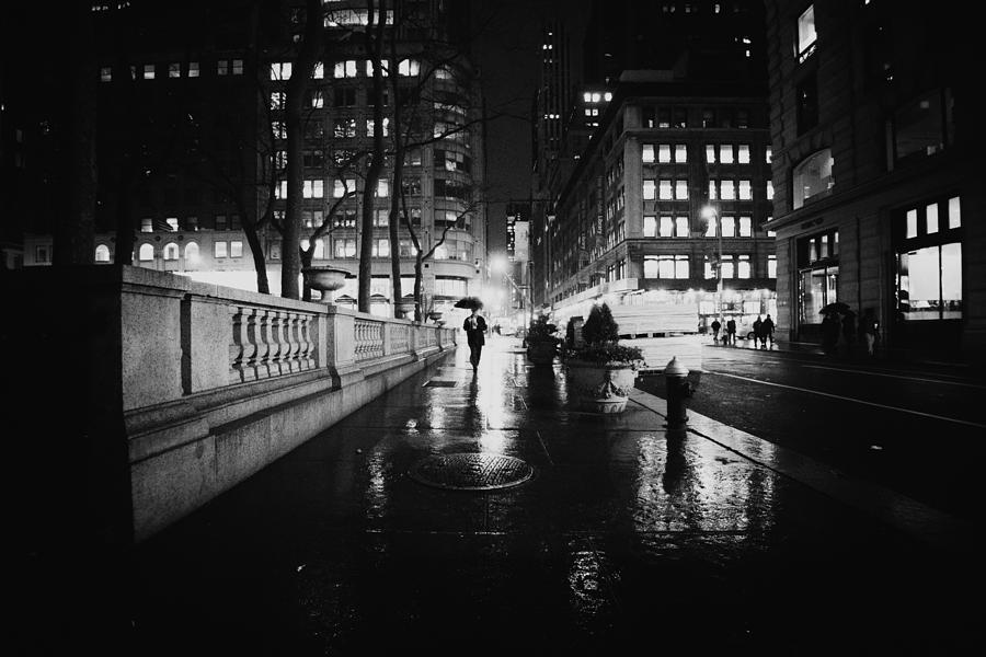 New York City - Night Rain Photograph  - New York City - Night Rain Fine Art Print