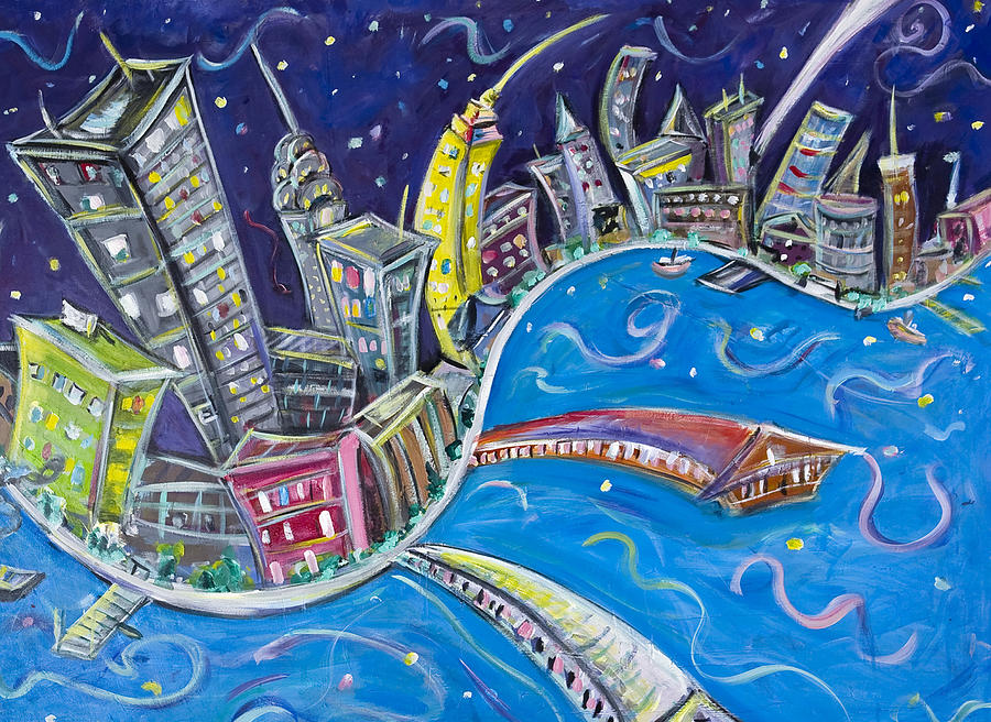 New York City Nights Painting  - New York City Nights Fine Art Print