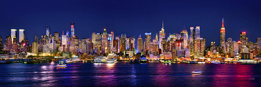 New York City Skyline At Night Photograph - New York City Nyc Midtown Manhattan At Night by Jon Holiday