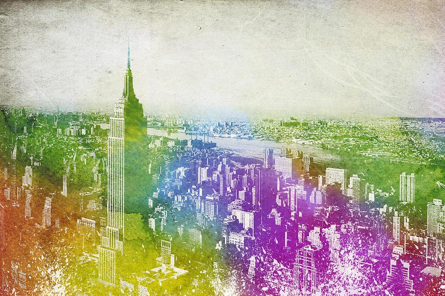 New York Digital Art - New York City Skyline by Aged Pixel