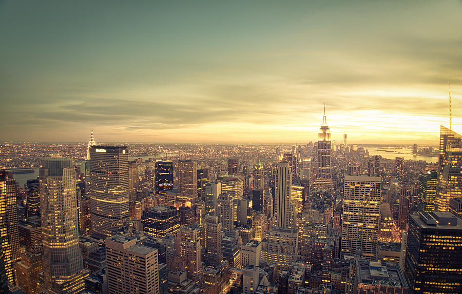 new york city skyline at sunset photograph by vivienne gucwa. Black Bedroom Furniture Sets. Home Design Ideas