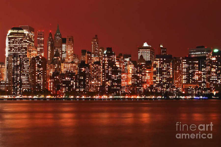 New York City Skyline In Red Photograph By Sabine Jacobs