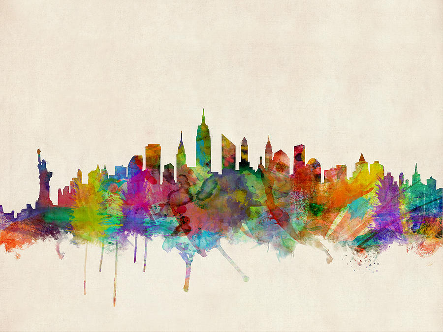 New York City Skyline Digital Art By Michael Tompsett