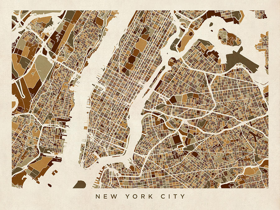 New York City Street Map Digital Art