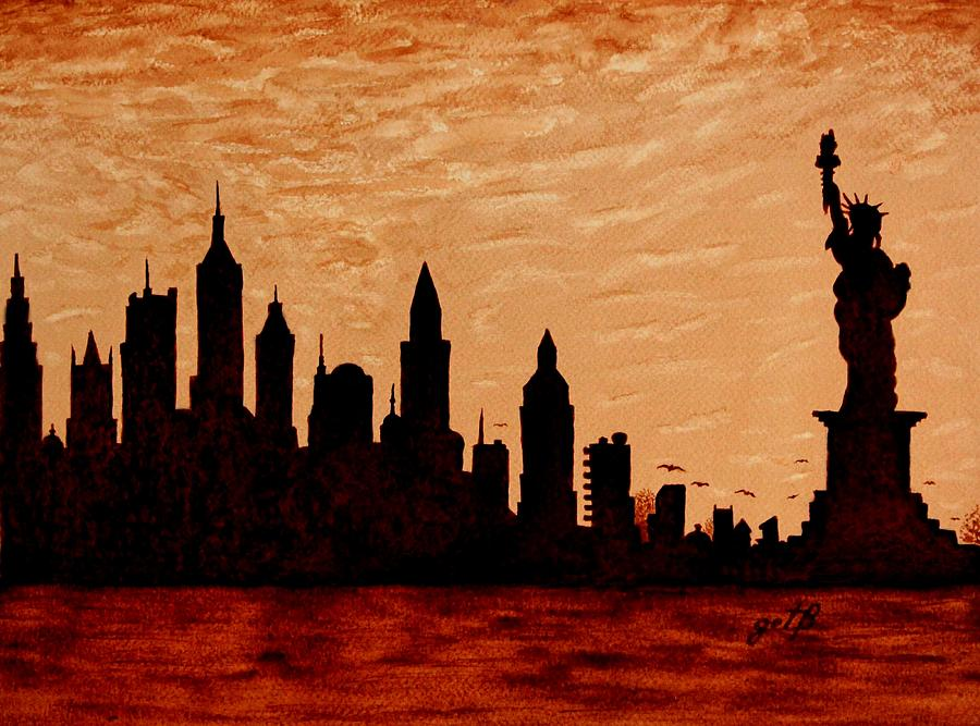 New York City Sunset Silhouette Painting  - New York City Sunset Silhouette Fine Art Print