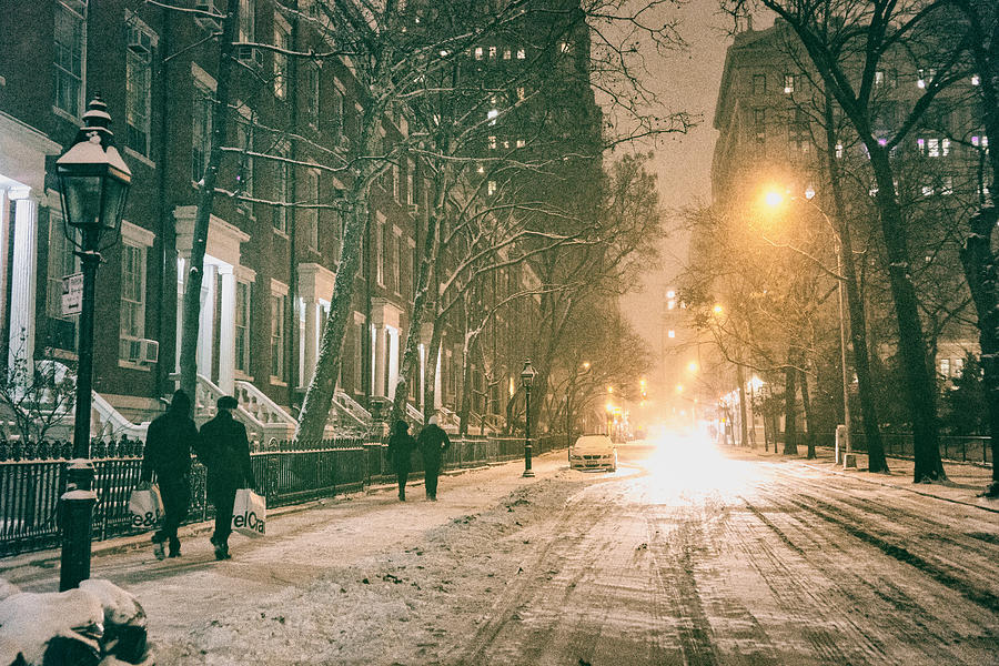 New York City - Winter Night - Washington Square Photograph