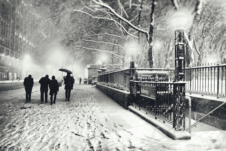 New York City Photograph - New York City - Winter - Snow At Night by Vivienne Gucwa