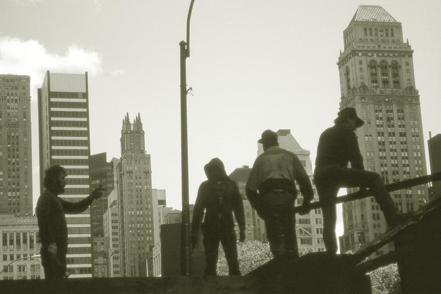 New York City Workers - Black And White Photograph