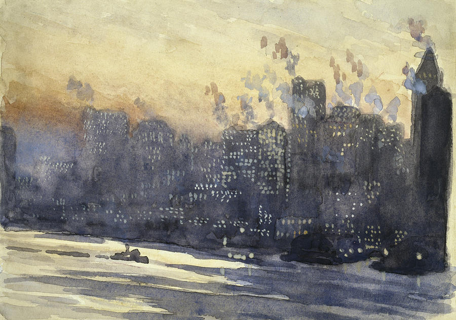 New York Harbor And Skyline At Night Circa 1921 Painting