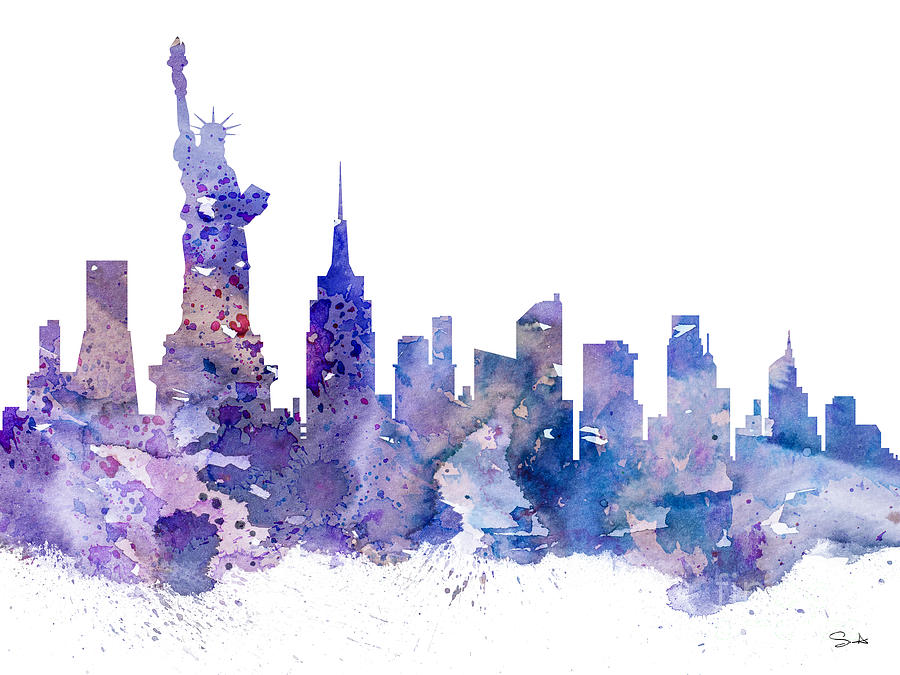 New york painting by luke and slavi for New york skyline painting