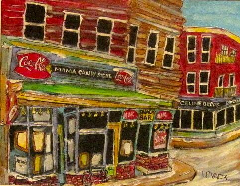 Urban Scene Painting - New York Mama Candy Store by Michael Litvack