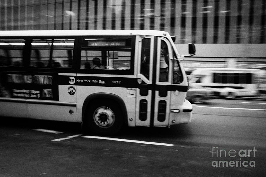 New York Mta City Bus Speeding Along 34th Street Usa Photograph