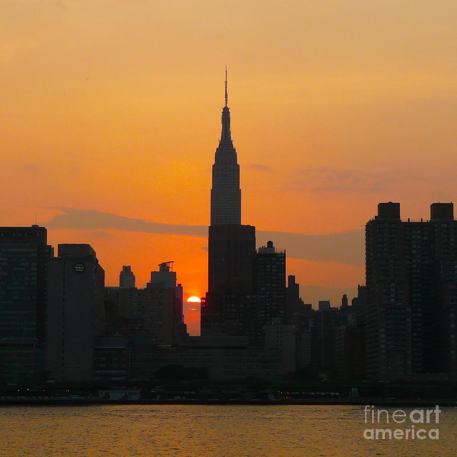 New York Skyline At Sunset Photograph