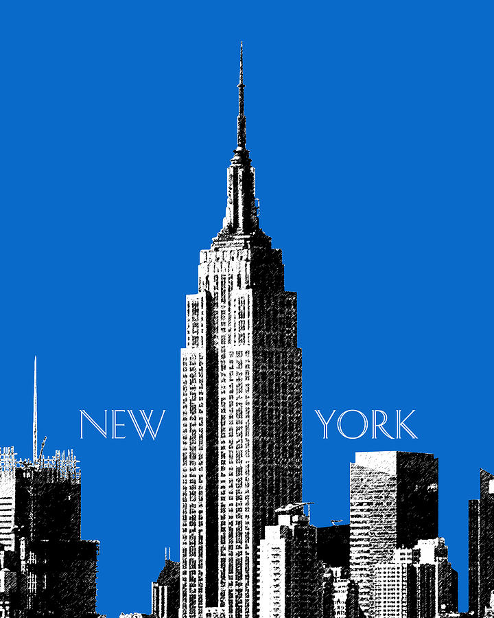 Architecture Digital Art - New York Skyline Empire State Building - Blue by DB Artist