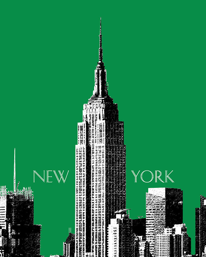 New York Skyline Empire State Building - Forest Green Digital Art
