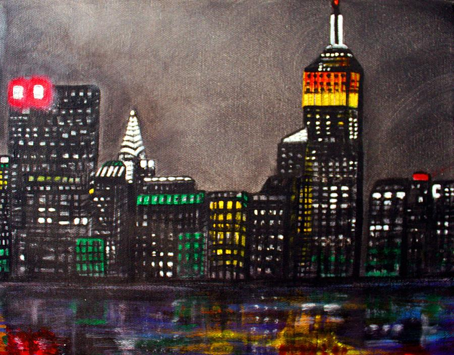 New york skyline by laura barbosa for New york skyline painting