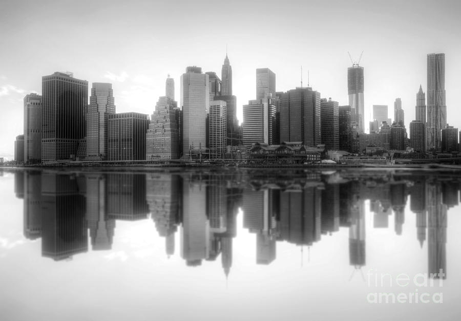 New York Skyline Sunset Bw Photograph  - New York Skyline Sunset Bw Fine Art Print