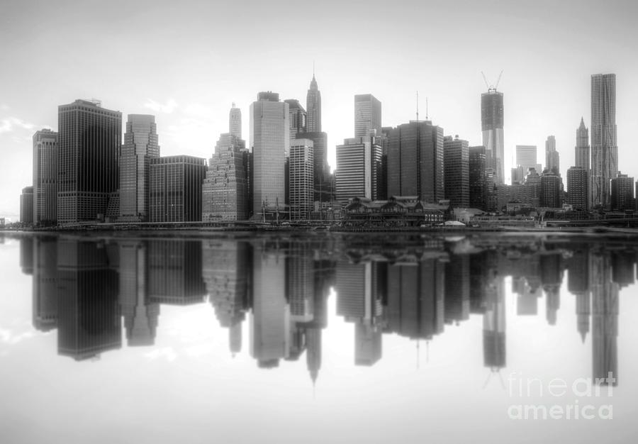 New York Skyline Sunset Bw Photograph