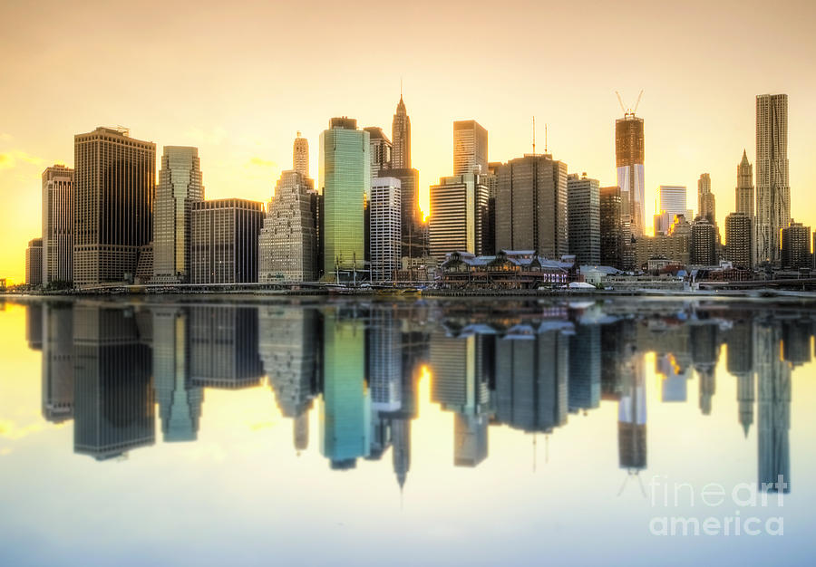 New York Skyline Sunset Photograph  - New York Skyline Sunset Fine Art Print