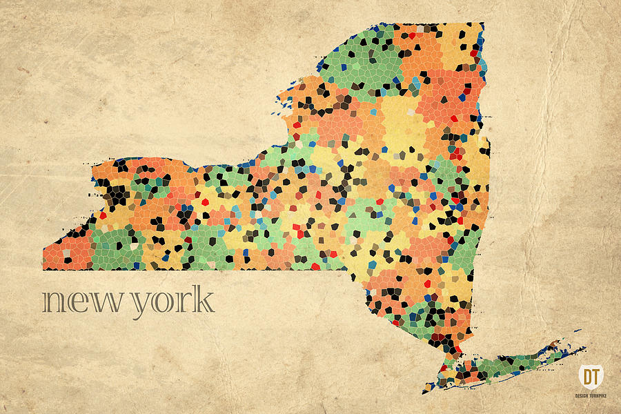 New York State Map Crystalized Counties On Worn Canvas By Design Turnpike Mixed Media