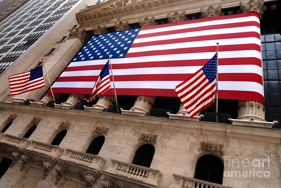 New York Stock Exchange American Flag Photograph  - New York Stock Exchange American Flag Fine Art Print