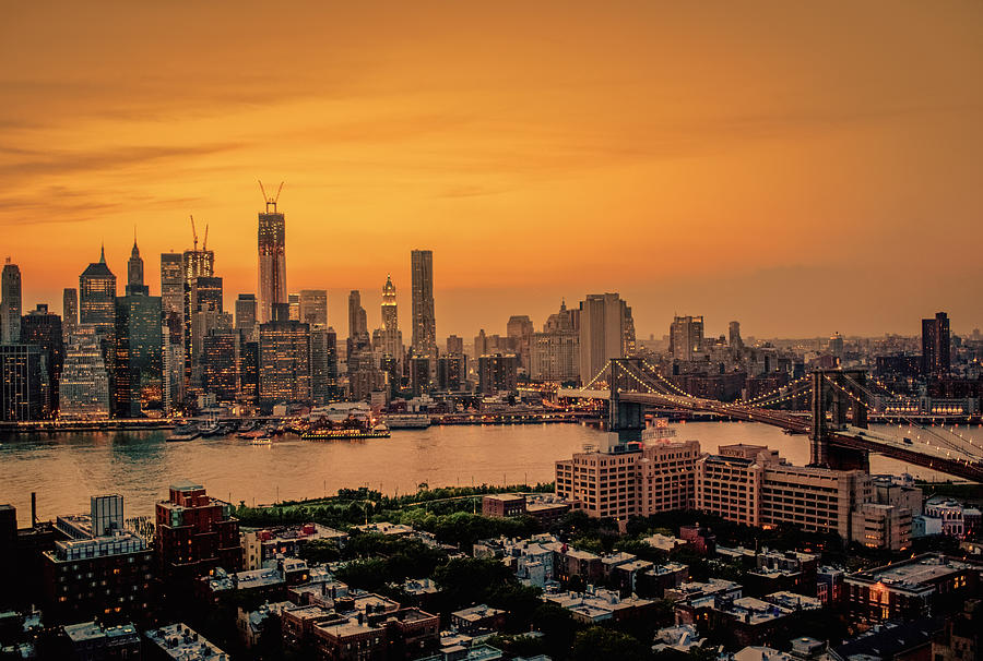 New York Sunset - Skylines Of Manhattan And Brooklyn Photograph