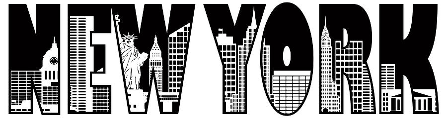 ... Photograph - New York Text Skyline Outline Illustration by JPLDesigns