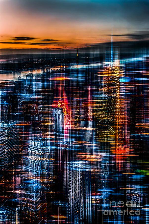 Nyc Photograph - New York- The Night Awakes - Orange by Hannes Cmarits