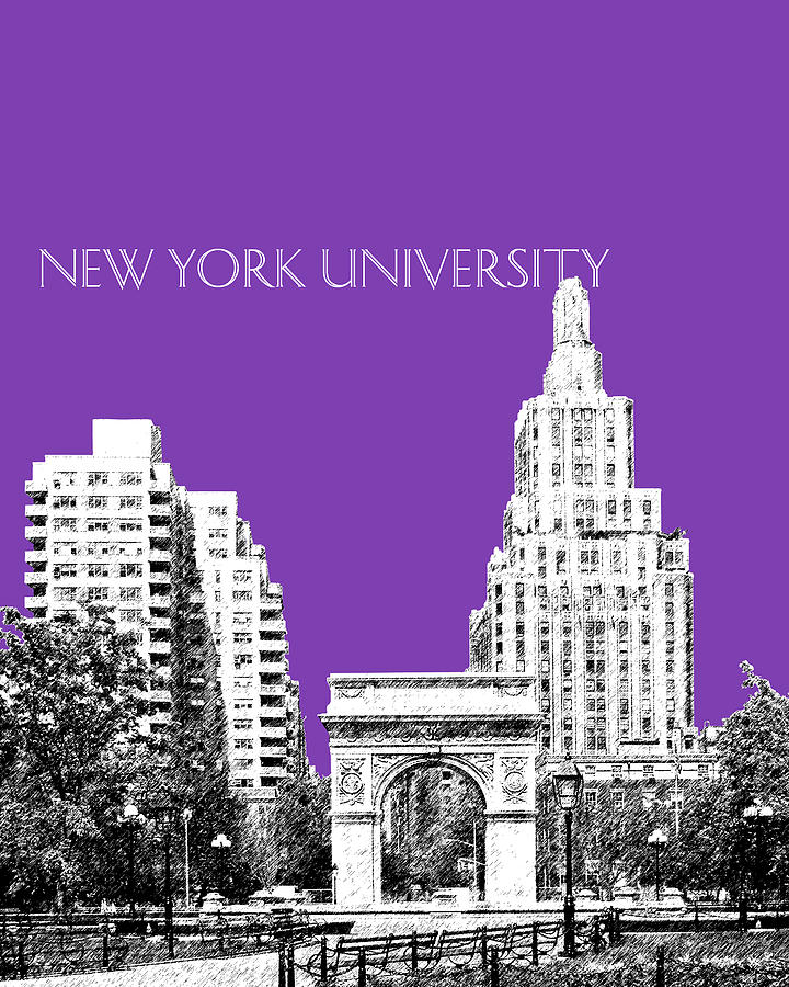 New York University - Washington Square Park - Purple Digital Art