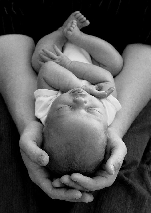 Father Photograph - Newborn In Arms by Lisa Phillips