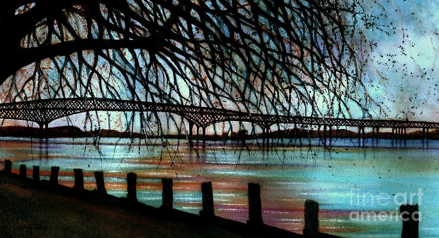 Newburgh - Beacon Bridge Painting - Newburgh - Beacon Bridge Night Sky by Janine Riley