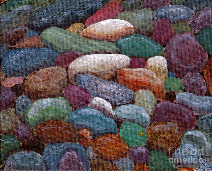Newfoundland Beach Rocks  Painting  - Newfoundland Beach Rocks  Fine Art Print