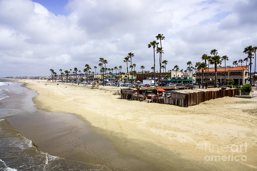 Newport Beach Oceanfront Businesses With Dory Fleet Photograph  - Newport Beach Oceanfront Businesses With Dory Fleet Fine Art Print
