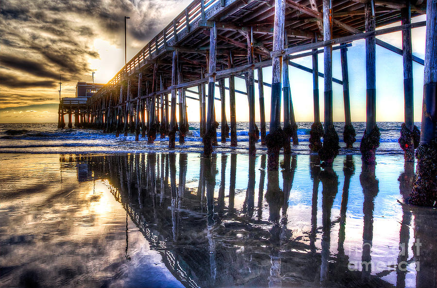 Newport Beach Pier - Reflections Photograph  - Newport Beach Pier - Reflections Fine Art Print
