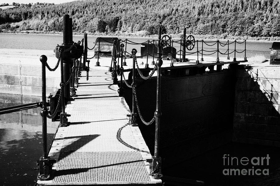 County Photograph - Newry Ship Canal Lock Gates And Controls At The Newly Refurbished Victoria Lock At Carlingford Lough by Joe Fox