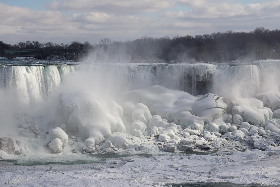 Niagara Falls Photograph - Niagara Falls Awesome Ice Buildup - American Falls New York State Usa by Georgia Mizuleva