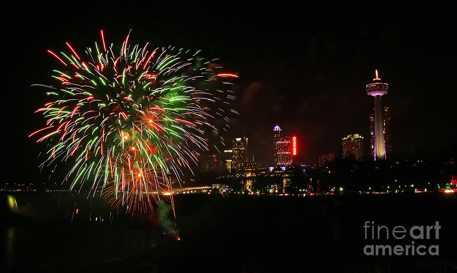 Niagara Falls Photograph - Niagara Falls Fireworks by Charline Xia