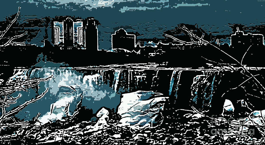 Niagara Falls Frozen At Night Digital Art