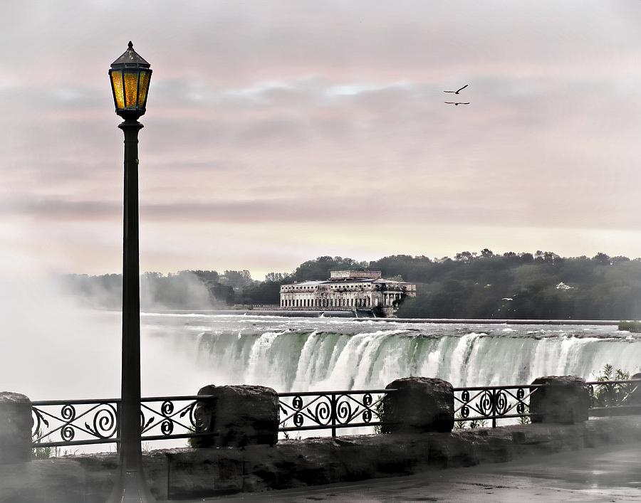 Niagara Falls Waterfall Waterfalls Canada New York Travel Ocean Lake River Stream Lamp Post Sunset Bird Art Photograph - Niagara Falls by Jessica Cirz