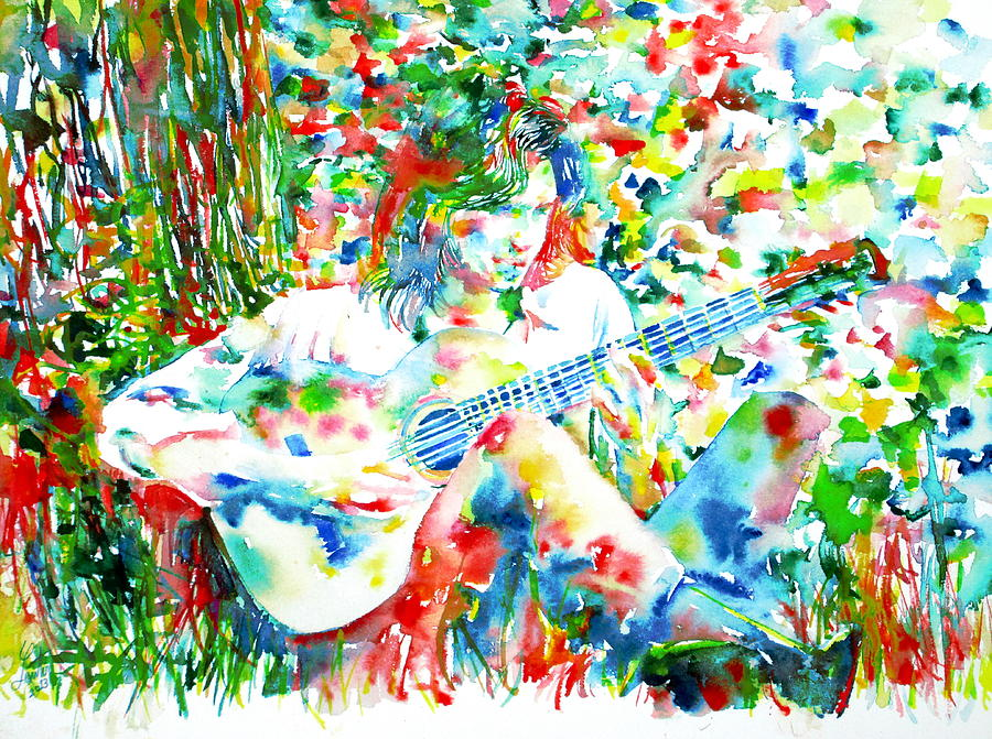 Nick Drake Playing The Guitar Under A Tree Watercolor Portrait Painting  - Nick Drake Playing The Guitar Under A Tree Watercolor Portrait Fine Art Print