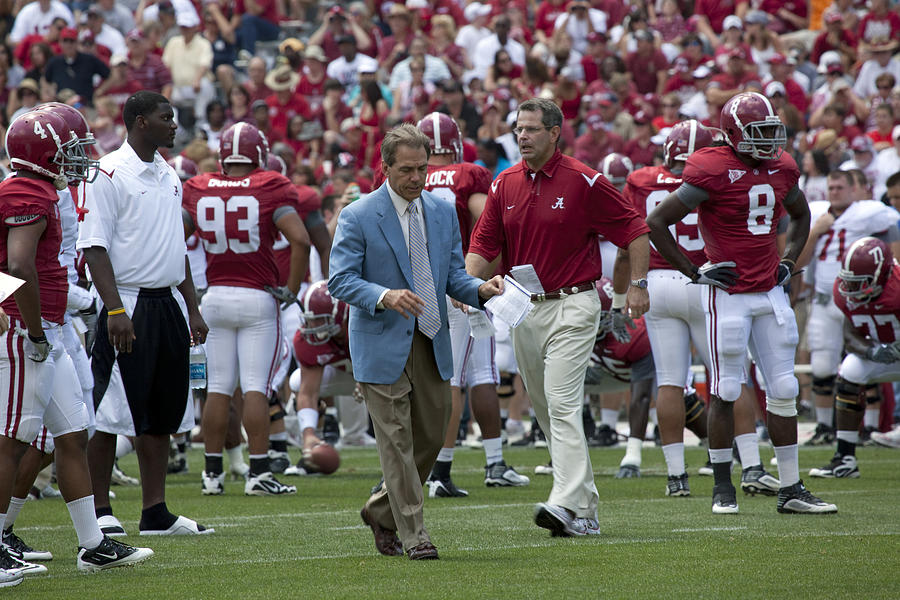 Nick Saban Photograph - Nick Saban And The Tide by Mountain Dreams