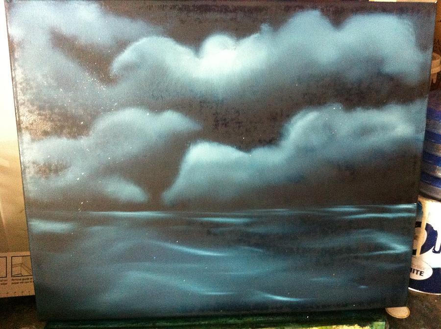 Sea. Night. Dark. Clouds. Black. Ocean. View.  Painting - Night At Sea  by Stephen Foster