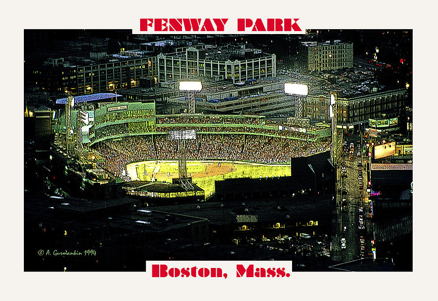 Night Baseball Fenway Park Boston Massachusetts Photograph