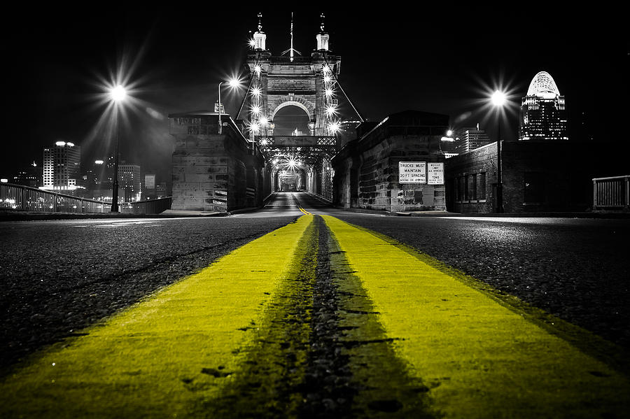 Roebling Photograph - Night Bridge by Keith Allen