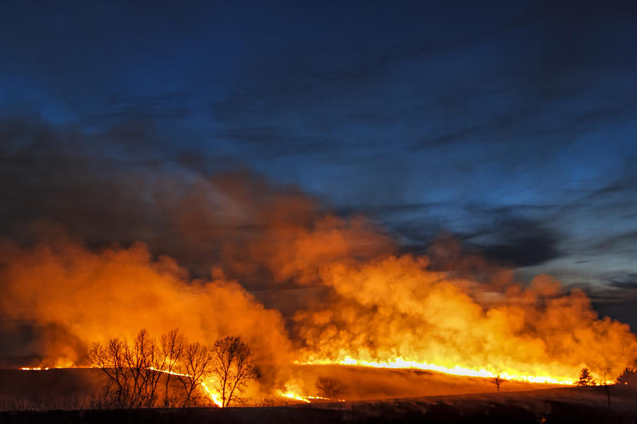 Night Burn In The Flint Hills Photograph