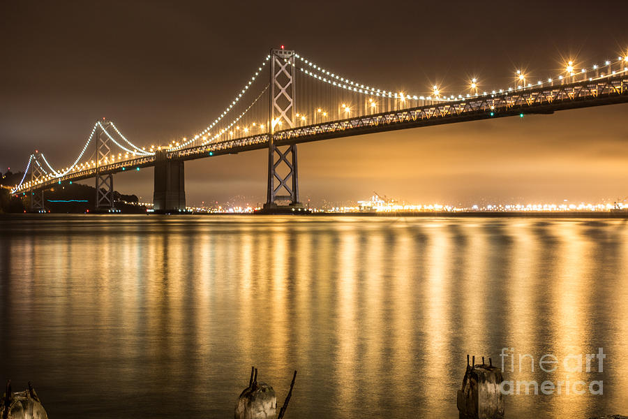 Night Descending On The Bay Bridge Photograph