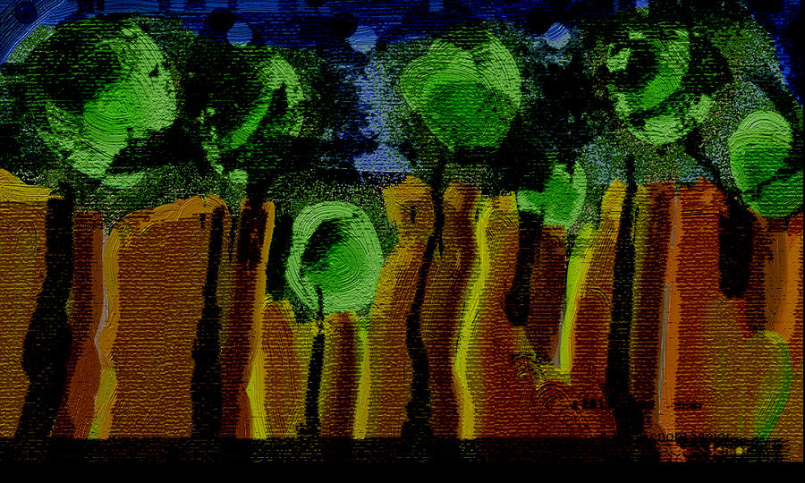 Night Forest Tapestry Digital Art